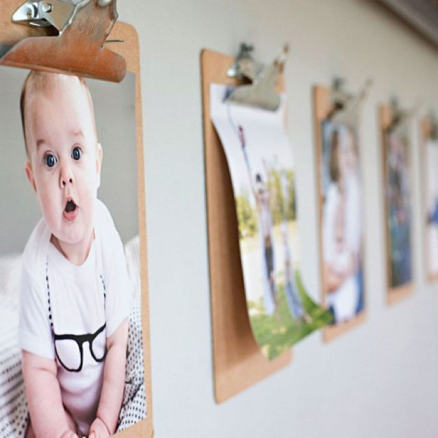 Use clipboards to hold photos/art on walls of kids' room/play room. Makes it easy to update/change them
