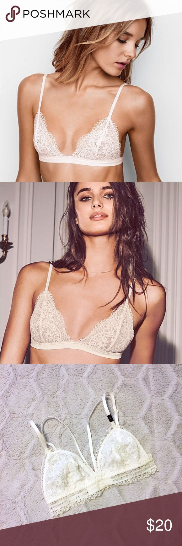 Victoria's Secret Crochet Lace Triangle Bralette New with tags - dainty sheer floral crochet lace bralette from Victoria's Secret. Style shown on model. Size small. Off-white crochet fabric, trim and straps. Adjustable straps. 4 sets of hook and eye closures at center back. Please ask questions and feel free to bundle with other items in my closet for a discount! 💕 Victoria's Secret Intimates & Sleepwear Bras