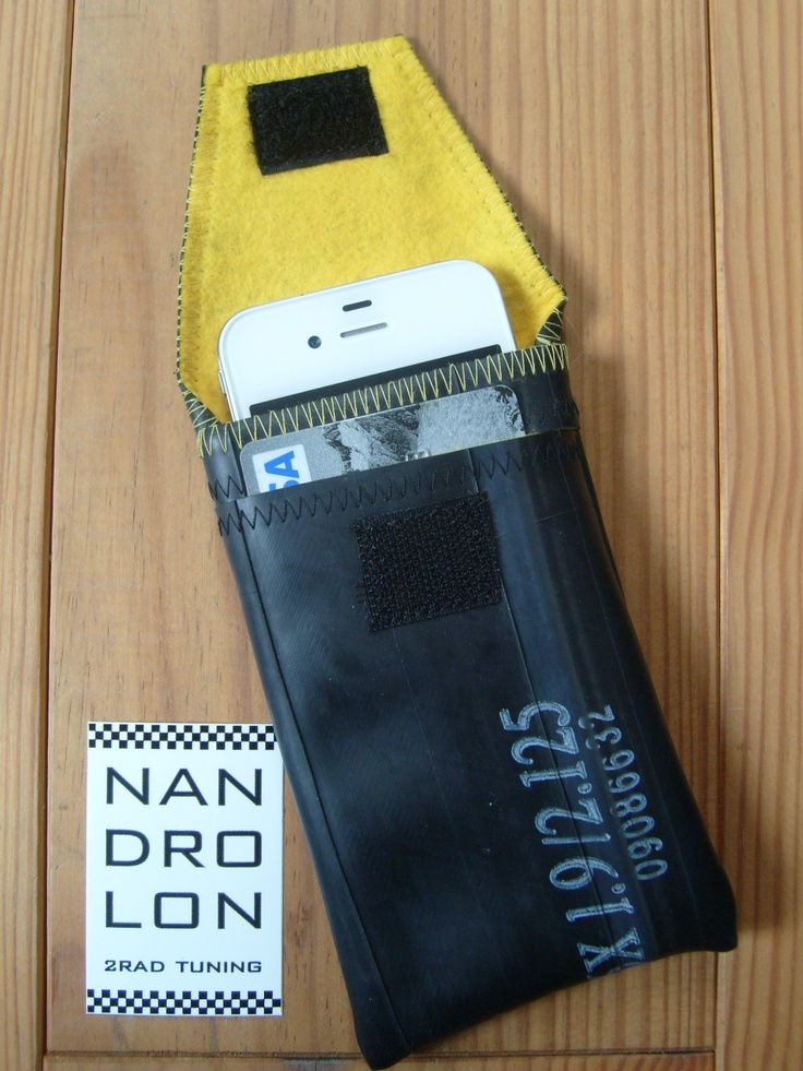 iPhone Case made from recycled bike tube, with credit card slot, yellow
