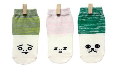 Petites Pattes - Olive Green & Pink Faces Sock