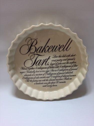 Vintage-retro-T-G-Green-ltd-bakewell-tart-Quiche-Lorraine-recipe-flan-dish-rare