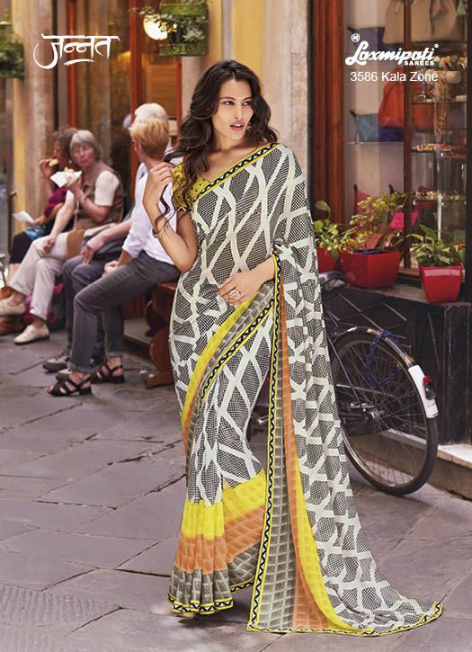 Appealing Off White Georgette Coloured , Geometric Printed Saree remouled with padding of Cantaloupe Steel Grey & Lemon Yellow colour which suits best for the enchanted evening wear. It is further beautified by Jacquard Patti and is also having Fancy Fabric Lemon Yellow coloured Blouse. www.laxmipati.com