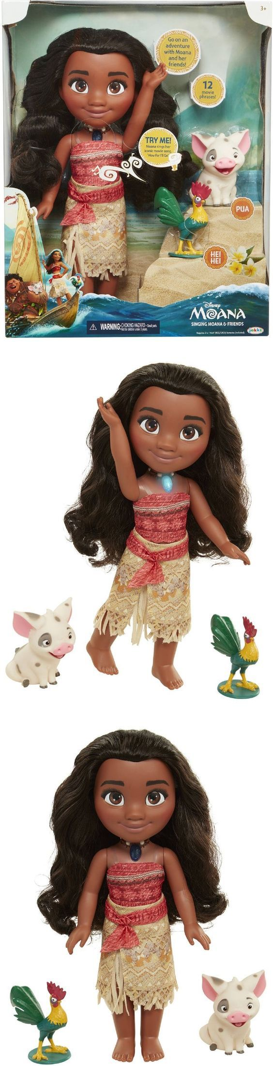Christmas 2017 gift for our beautiful granddaughter. Disney Singing Moana and Friends. Disney princess doll set includes Moana, her pet pig Pua and her rooster friend Heihei. When you  push Moana's shell necklace it lights up, and she says actual movie phrases and sings her song How Far I'll Go.    My baby enjoys holding her while watching the Moana DVD I got her and her brother for Christmas this year. (+ 2yr protection plan for $2.00)