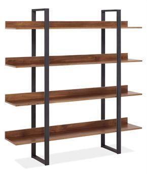 minimal. modern. walnut and natural steel bookcase