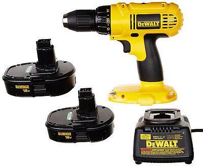 DeWALT 18V  Cordless Drill Driver Kit w 2 Nicad Batteries Compact Power Tool New