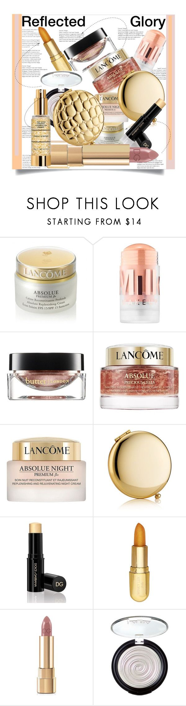 """Reflected Glory: 2018 Beauty Editor's Pick"" by helenaymangual ❤ liked on Polyvore featuring beauty, Lancôme, MILK MAKEUP, Butter London, Estée Lauder, Dolce&Gabbana, Winky Lux and Laura Geller"