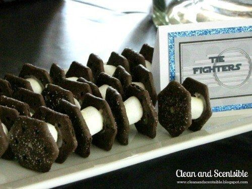 Or use mini marshmallows, Oreo wafer cookies, and a little icing to make edible TIE fighters. | 23 Ways To Throw The Best Star Wars Birthday Party Ever