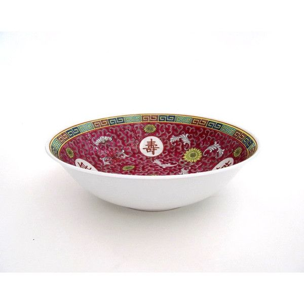 Vintage Asian Pink Serving Bowl ($55) ❤ liked on Polyvore featuring home, kitchen & dining and serveware