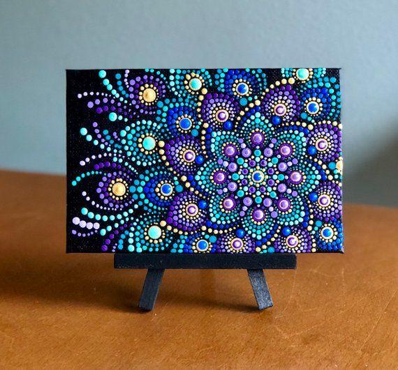 Jewel tones dot Mandala on 4″x6″ canvas purple, turquoise , blue, gold