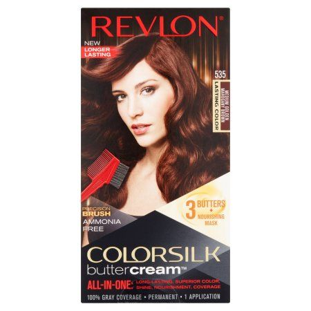 Revlon ColorSilk Buttercream 535 Medium Golden Mahogany Brown Hair Color, 1 application, Gold