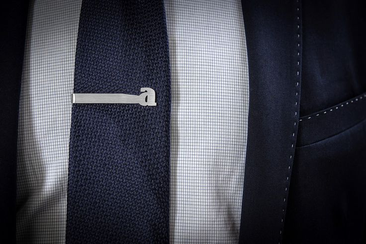Alphabet tie clip in sterling silver with any letter