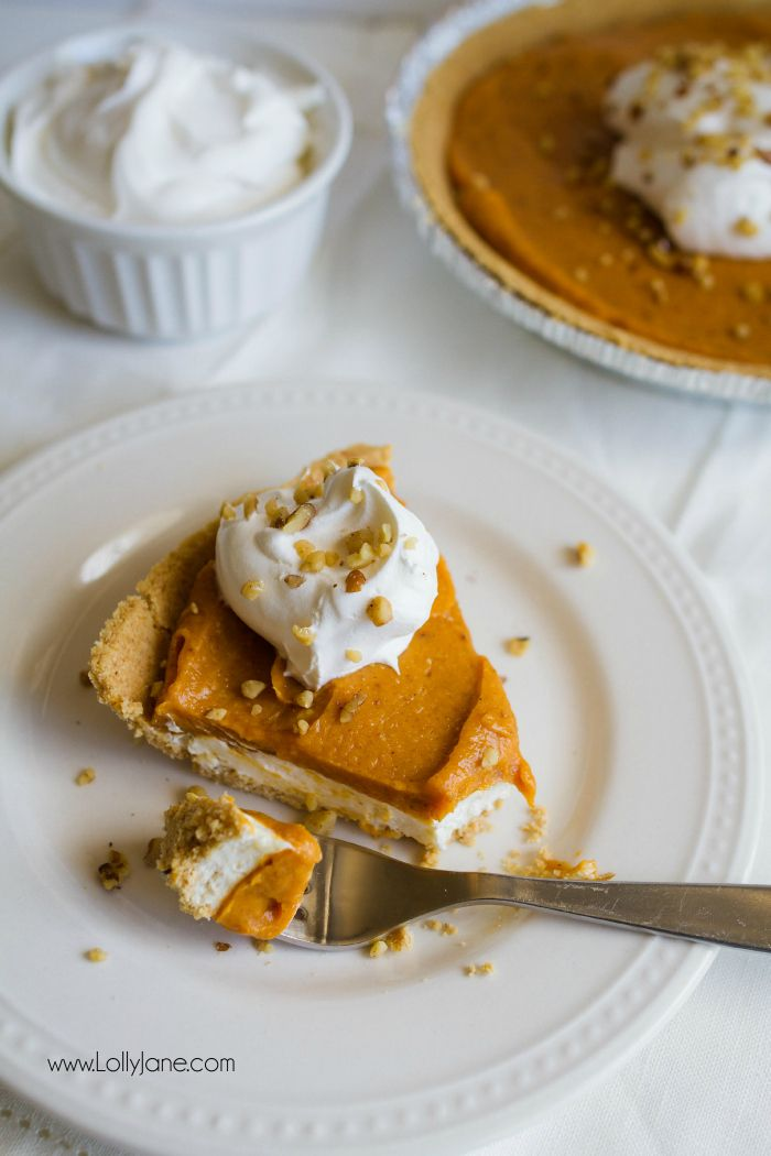 Put this sensational double layer cheesecake pumpkin pie on your fall to eat list, yum! Great Thanksgiving dessert or easy fall recipe!