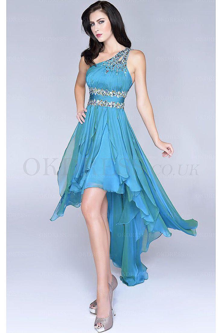 Attractive High Low Empire Asymmetrical Chiffon Sleeveless Prom Dresses - by OKDress UK