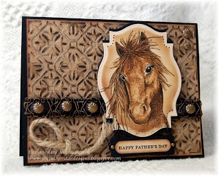 Very nicely done. the shading on the horse and on the embossed background are very nice indeed.
