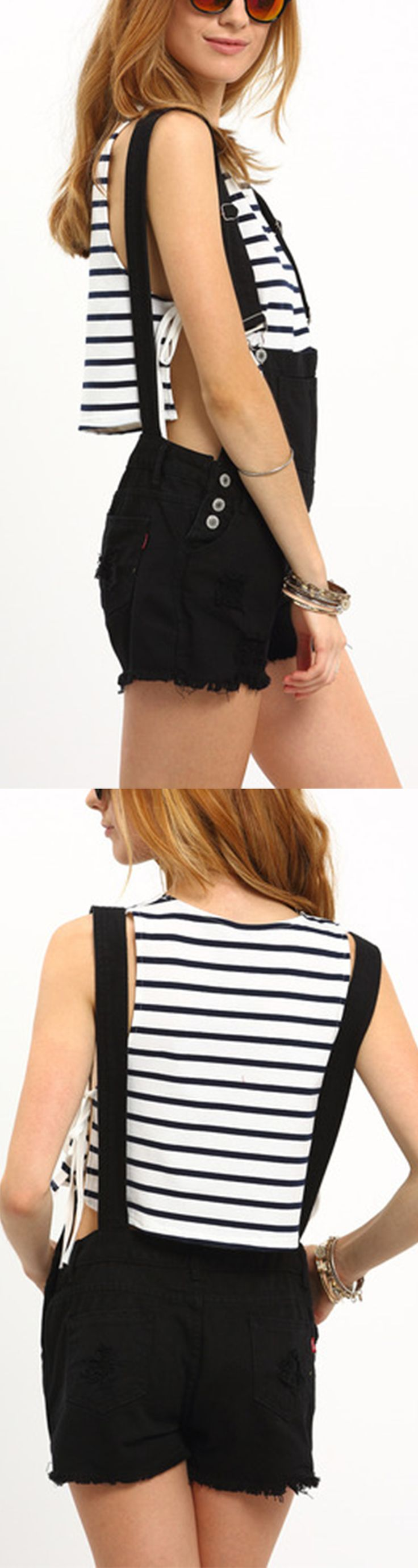 Raw Hem Black Denim Overall Shorts