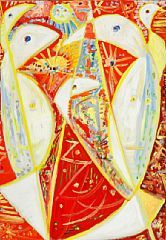 """858/576 - Egill Jacobsen: """"Fugle i rødt rum"""". Sign. på bagsiden E.J. 74. Olie på lærred. 92 x 65."""