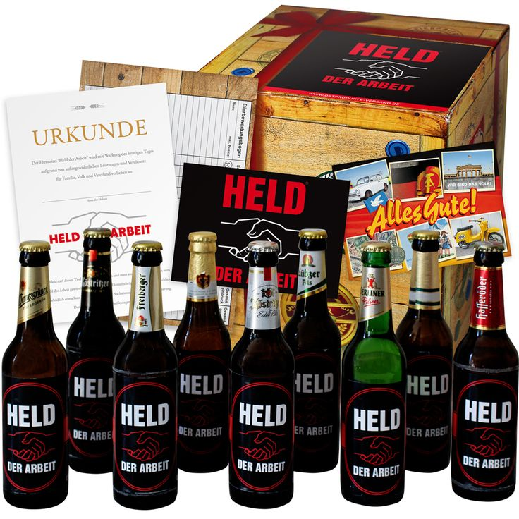 Die Bier Geschenkbox für den Held der Arbeit ist ein schönes Geschenk für arbeitende Männer. Auch zum Richtfest, Einweihung und Beförderung gut geeignet.