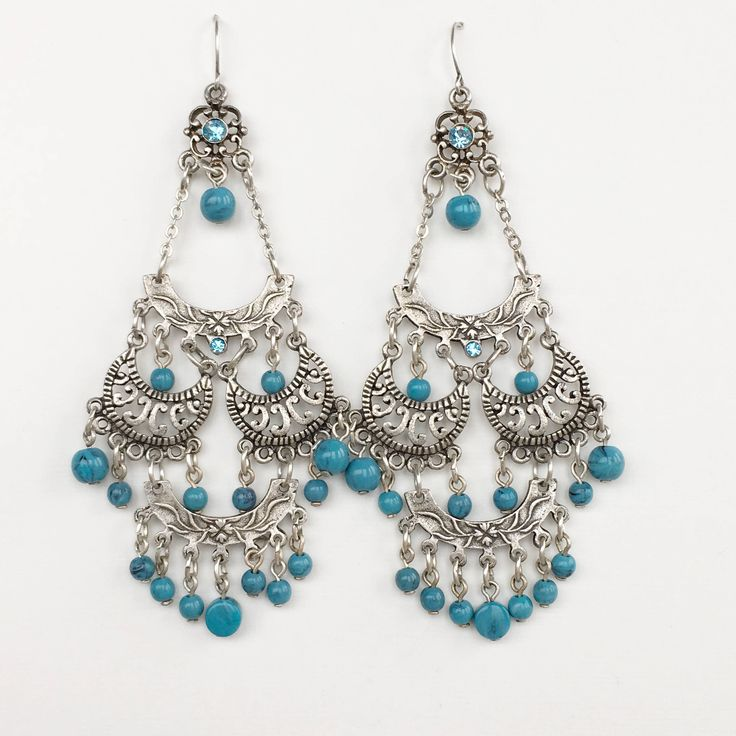 Lot 121 Boho Chic pierced Chandelier  Earrings vintage style silver toned turquoise beads large very gorgeous by MariniJewellery on Etsy https://www.etsy.com/ie/listing/558854787/lot-121-boho-chic-pierced-chandelier