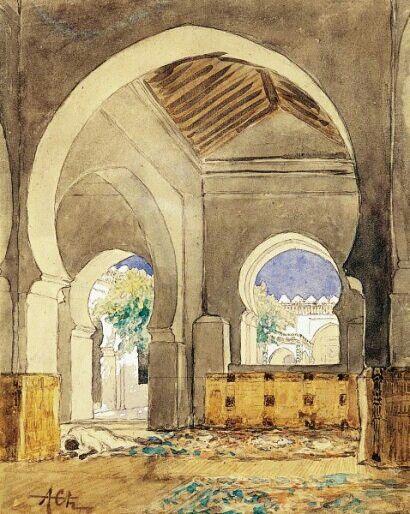 Algérie - Peintre Français  Alfred CHATAUD (1833-1908), ,Aquarelle gouachée ,Titre: La grande mosquée d'Alger