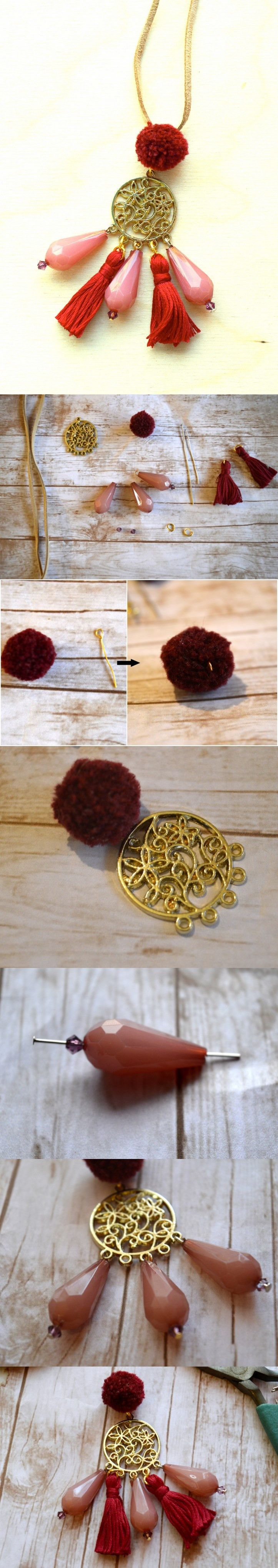 How to Make a Boho Chic Pom Pom and Tassels Necklace