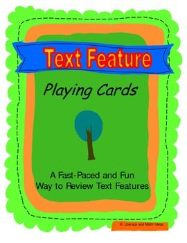 This is a fun way to teach and review text features without students even realizing that they are learning! Students race to be the first person to empty their hand of playing cards in order to win the game. As students are playing, they are actually reviewing the different types of text features that are found in informational text. Great for test prep, small group instruction, and review!