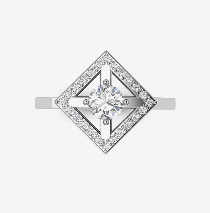 Bague Solitaire en or blanc 18 carats et diamants de synthèse - Collection THE ORIGIN