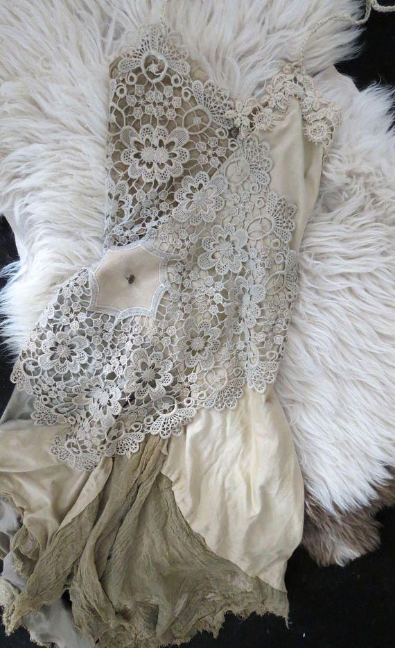 Kleid, Spitze, vintage, Hochzeit, Elfe, Hippie, Boho, Gipsy S M