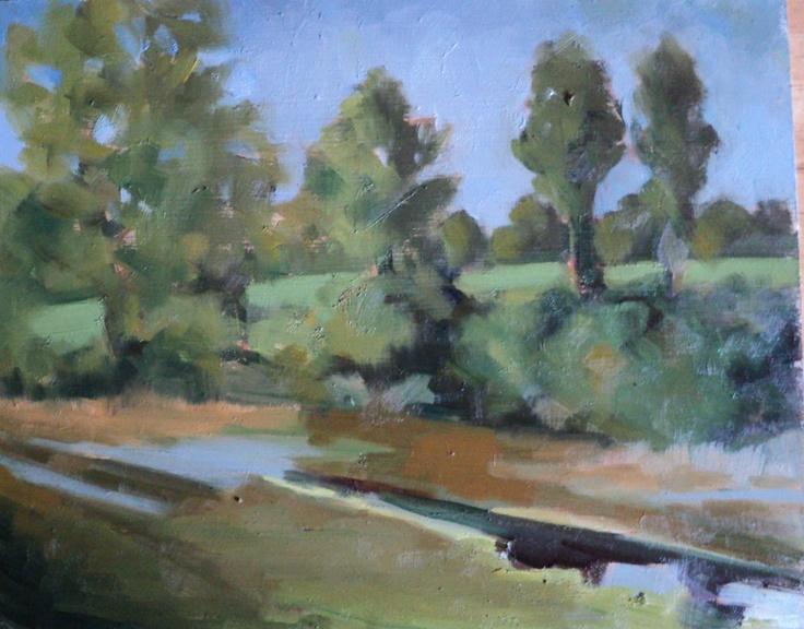 "swamp lands in Mornington co meath.Oil on panel .7""x7""."