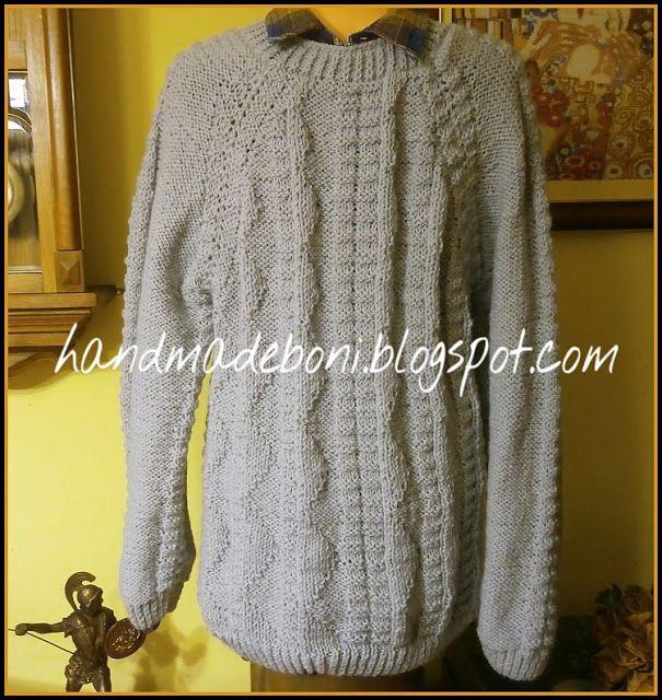 HandmadeBoni: Szary męski sweter i czapka z warkoczami