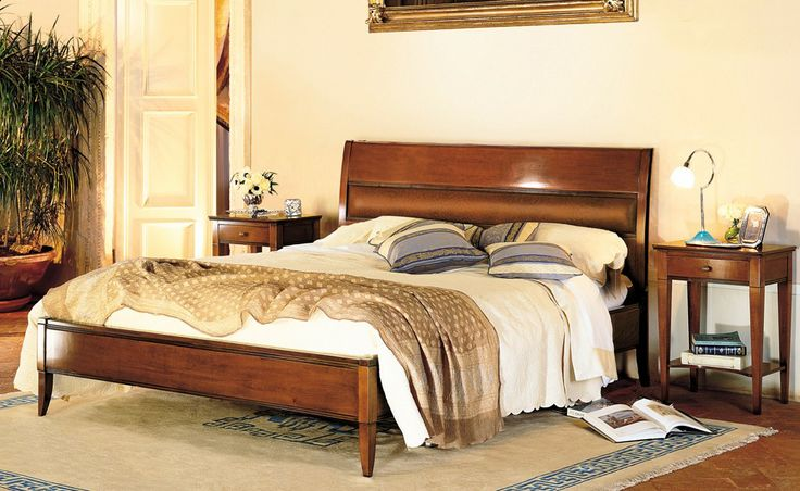 Granato giroletto - Le Gemme   Classic Collections Le Fablier   Bed with leather headboard without foot board   Measures in cm (LxDxH) 168x218x109   Structure in solid lime wood   Available with width from 98 to 188 cm
