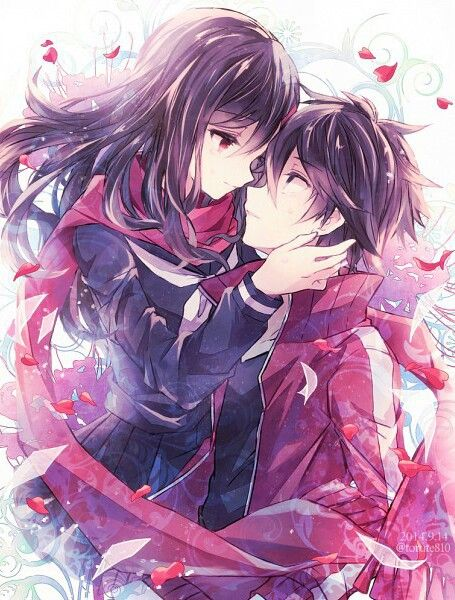 anime couple, anime kiss, art, boy and girl, couple, draw, hug, kawaii, kiss, love, manga, manga couple, manga love, monochrome, red, school, school uniform, ayano tateyama, shintarou, ayano, manga kiss, mekakucity actors, anime, ️anime love