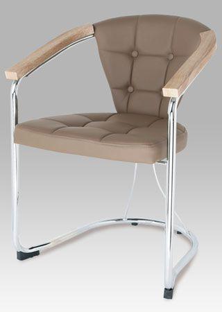SF-804 LAT  Konferenční židle, koženka latte / chrom.