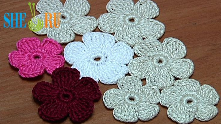 Crochet Simple Five-Petal Flat Flower Tutorial 28 Part 1 of 2