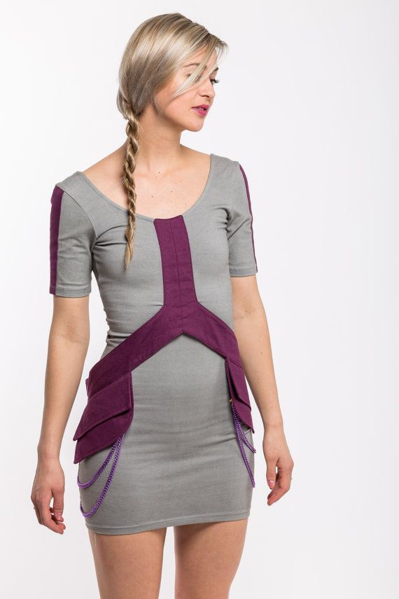 Rocket dress  gray and purple pocket belt by Alienelia on Etsy