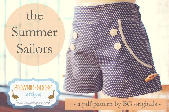 My, oh my...the Summer Sailor. The sweetest little summer short you ever did see. Flat front, elastic back with faux pockets and button-sailor
