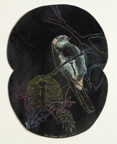 Vanessa Edwards, Nga aitanga Kapa kapa a Tane I, scraffito, oil pastel and acrylic on 245 x 190 mm paper, 1 of 1, 2013. Sold.
