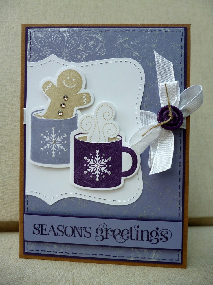 SU stamp set Scentsational Season & a trimmed top note die. Sentiment is from Curly Cute. Finishing touches include some  white taffeta ribbon, an Elegant Eggplant button, a few rhinestones for the gingerbread 'buttons' and some faux stitching using a marker.