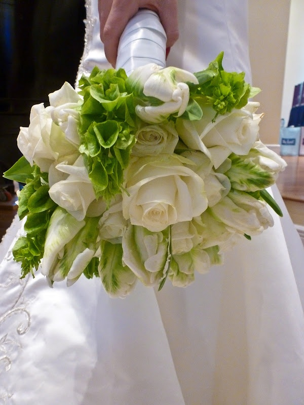 Bells of Ireland and white roses - oh so lovely