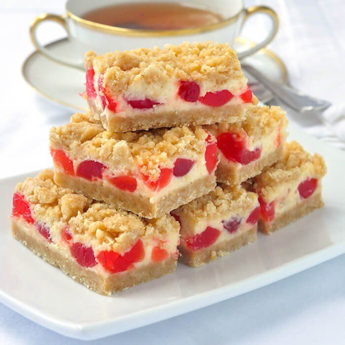 Cherry Vanilla Cheesecake Bars – a very festive & easy cheesecake cookie bar recipe & one of Rock Recipes TOP 25 most popular recipes of over 1600 published