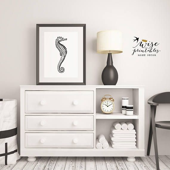 Sea Horse gift for her Bathroom decor sign Black white home