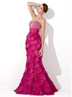 Trumpet/Mermaid Sweetheart Floor-Length Beading Sequins Pleated Zipper Up…