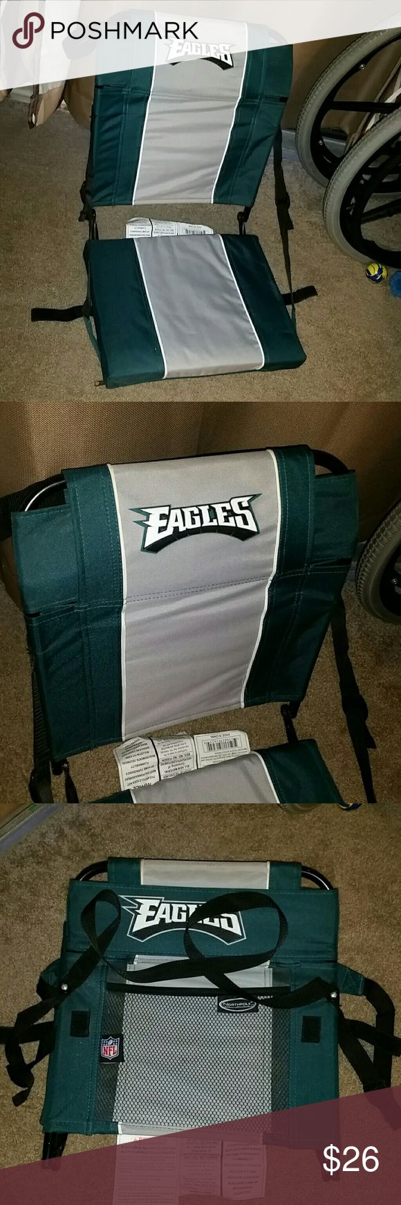 Eagles stadium seat! Price is FIRM!! This was used once for 1/2 hr!! In EXCELLENT condition, no wear! Straps on your back for an easier carry, storage compartment for your beverage, cell phone, etc! This is NOT eligible for a bundle and the price is FIRM at $25!! I'm smoke free, pug friendly and I typically ship same or next day!! Weight capacity 255 pounds! NFL Other
