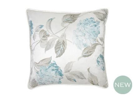 Hydrangea Print Duck Egg Cushion Featuring our pretty Hydrangea print in cool duck egg and greys, this luxurious silk cushion will add elegance to home decor.