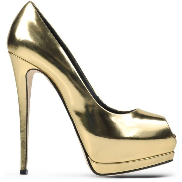 Giuseppe Zanotti Design Pumps With Open Toe ($755) ❤ liked on Polyvore featuring shoes, pumps, heels, high heels, scarpe, gold, real leather shoes, open toe high heel shoes, leather sole shoes and leather pumps
