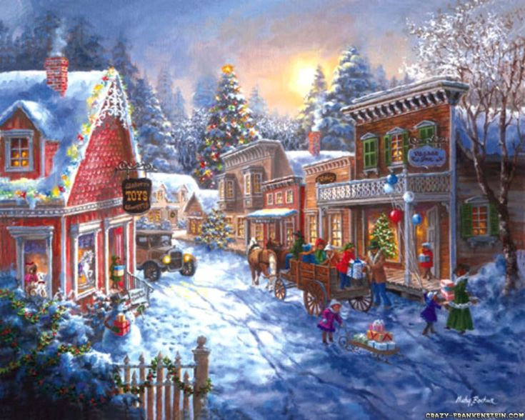 Image detail for -... scene-1280x1024.jpg christmas, natale, noel, village, winter, snow