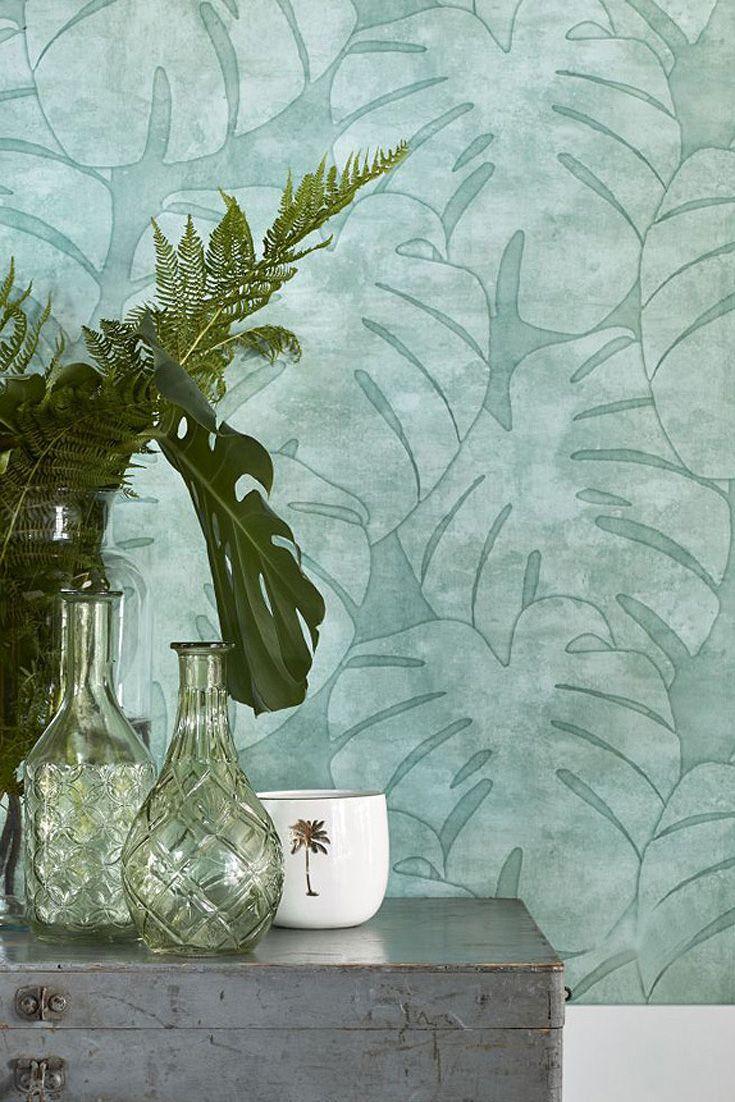 hochwertige tapete anagan grün im jungle trend | tapeten