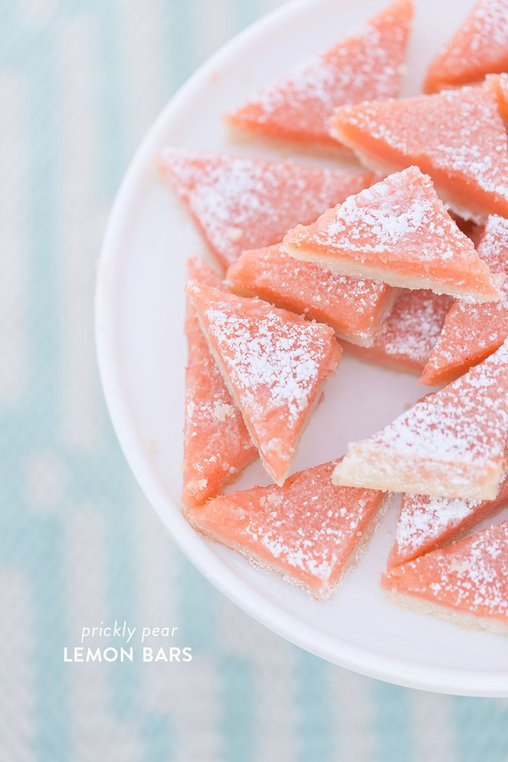 Prickly Pear Lemon Bars Photography : Amy And Jordan Photography Read More on SMP: http://www.stylemepretty.com/living/2016/01/22/prickly-pear-lemon-bars/