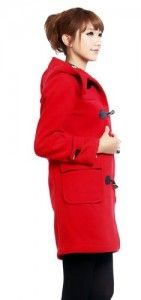 Jackets women  Simplicity Lady's Long Sleeve Horn Button Jacket with Hood, Red Size M Big Discount