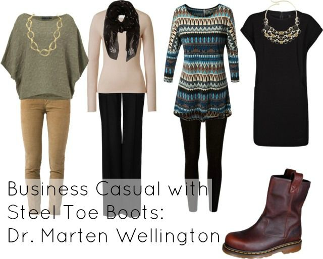How to achieve business casual style when you have to wear steel toe boots, via @wardrobeoxygen featuring Doc Marten Boots