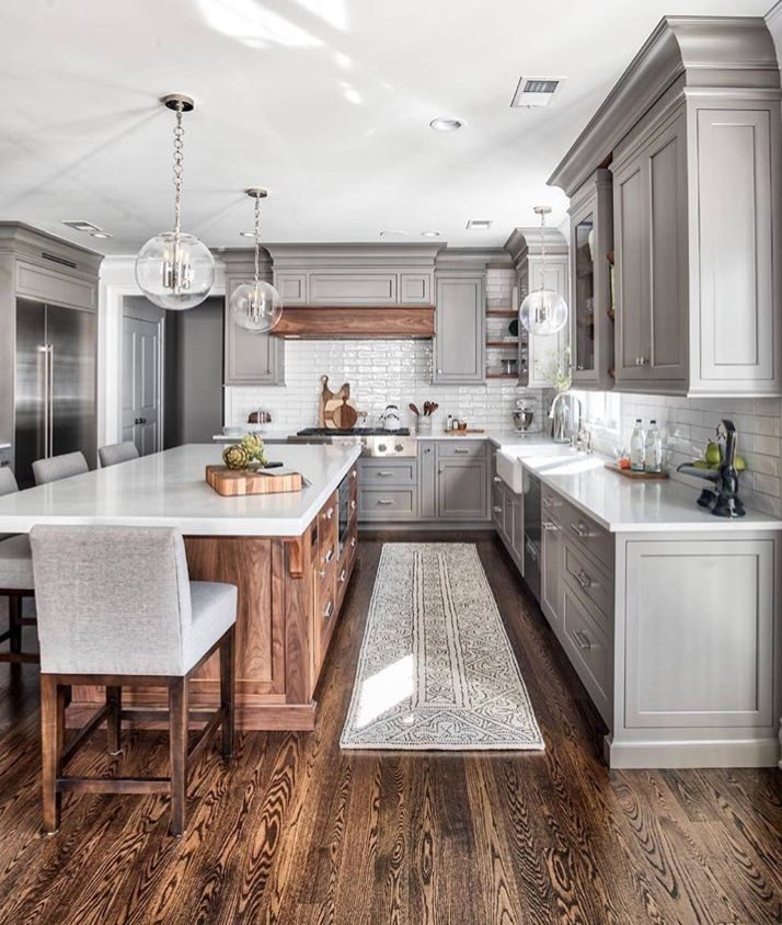 kitchen gray shaker cabinets wood island w matching wood vent hood marble countertops on kitchen interior grey wood id=31293